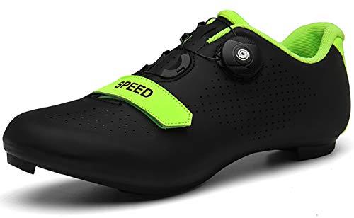 [NOXNEX] サイクルシューズ 通気性 MTBシューズ 自転車 SPD/SPD-SL両対応 カジュアル ロード シュ−ズ バイク 靴 快速靴紐 ベルクロ 滑りにく サイクリングシューズ メンズ用&レディーズ用 初心者(24.0cm,ブラック)