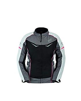 Jet Blouson Veste Moto Femme Imperméable avec Protection Textile ROCHELLE (Gris/Rose, XL (EU 42))