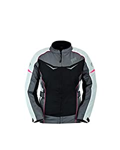 JET Chaqueta Moto Mujer Textil Impermeable con Protecciones ROCHELLE (XL (ES 42), Gris/Rosa)