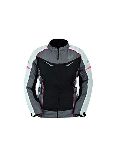 Jet Motorradjacke Damen Mit Protektoren Textil Winddicht Sommer Winter ROCHELLE (XL (EU 42), Grau/Pink)