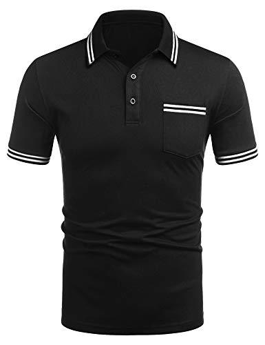 COOFANDY Herren Polo Polohemd Basic Kurzarm Einfarbig Slim Fit Polo Shirt Oberteil, Knopfleiste, Hemdkragen Kurzarmshirt Shirt Basic Poloshirt aus Baumwolle mit zweifarbigen Details