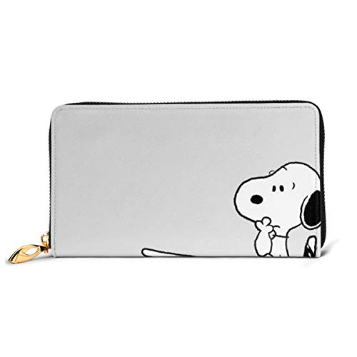 Snoopy Wallet RFID-blockierendes Echtleder-Portemonnaie mit Reißverschluss um Kartenhalter Organizer Clutch