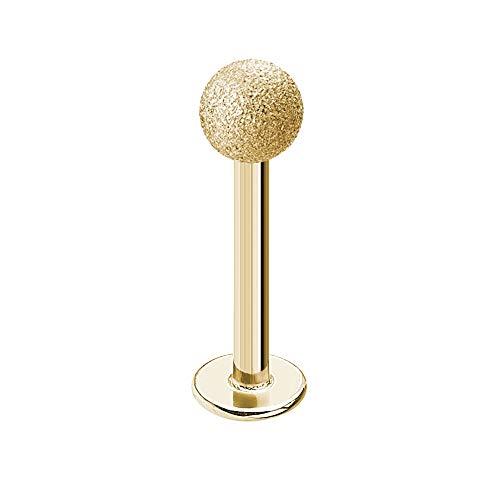 Treuheld®   Piercing LABRET in Diamant-Optik - Gold - 9 Größen & Längen - sandgestrahlte Kugel zum Schrauben - Matt - LIPPENPIERCING - Intimpiercing & Zungenpiercing - [01.] - 1.2 x 6 mm (Kugel: 3mm)
