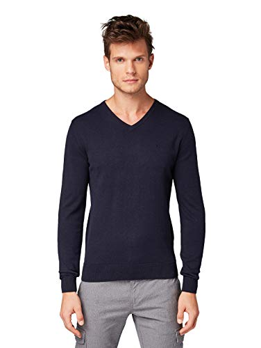 TOM TAILOR Herren Pullover & Strickjacken Schlichter Strickpullover Knitted Navy Melange,L