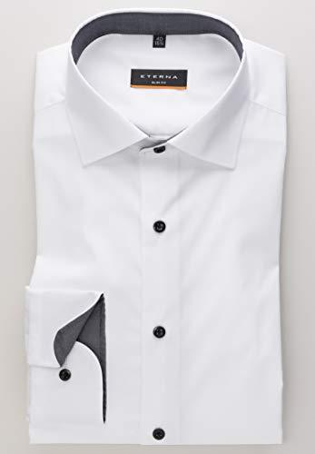 eterna Langarm Hemd Slim FIT Stretch Unifarben,W40 Langarm,Weiß