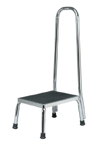 Homecraft Step Stool with Handle, (Eligible for VAT relief in the UK) Chrome Plated Sturdy Steel Stool for Elderly, Disabled, & Children, Non-Slip Safety Step for Bathroom, Kitchen, Slippery Floors