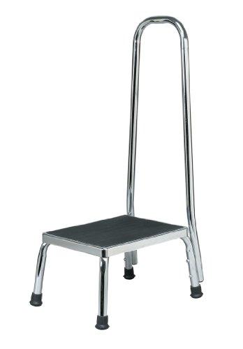 Homecraft Trittschemel mit Griff, verchromt Stabilem Stahl Hocker für Senioren, Behinderte, und Kinder, rutschfeste Sicherheit Schritt für Badezimmer, Küche, rutschige Böden