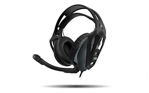 Ozone Nuke Pro Gaming-Kopfhörer mit Mikrofon, 7.1-Sound, Boombox, kompatibel mit PS4, ergonomisch, klappbar, Premium-Sound, Klinke 3.5 + PC-Adapter, Schwarz