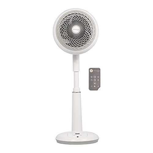 Iris Ohyama 531462 Ventilador de pedestal potente y silencioso con control remoto, Temporizador, Oscilación multidireccional, 49m², 35W, Blanco, Blanca, 27 x 27 x 64~75 cm