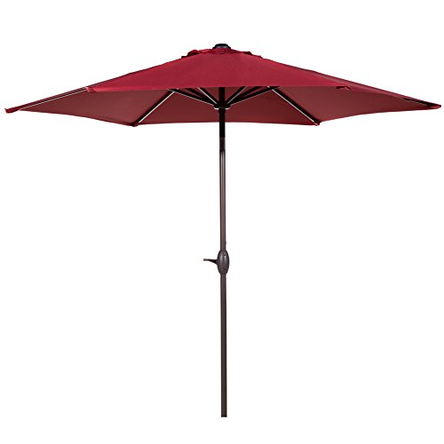 Abba Patio Outdoor Patio Umbrella 9-Feet Aluminum Market Table Umbrella with Push Button Tilt and Crank, Red