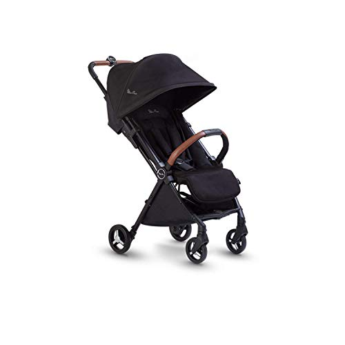 Silver Cross Jet Black Travel Stroller Lightweight and Cabin Approved Pushchair