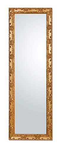 MO.WA Specchio Parete Lungo Cornice Classica Legno Oro Antico cm. 46X142 cm. da Appendere Vericale/Orizzontale Made in Italy.