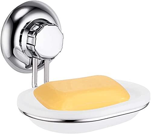 Hanper Soporte para jabón sin taladrar, con ventosa, de acero inoxidable, no se oxida, para baño y cocina (A)