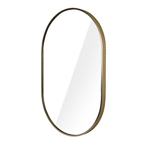 NYDZDM Moderner Wandspiegel aus Metall/Glaspaneel Goldrahmen rund tief gesetztes Design | Spiegel Rechteck horizontal/vertikal (83x 52 cm)