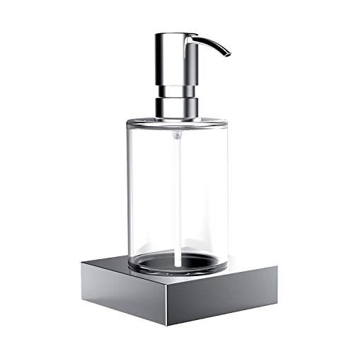Emco Liaison Seifenspender für Flüssigseifen, Inhalt 240 ml, Kristallglas/chrom, Flüssigseifenspender – 182100102