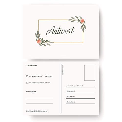 (10 x) Antwortkarten Hochzeit Hochzeitskarten Antwort Postkarte Einladung - Pflanzen
