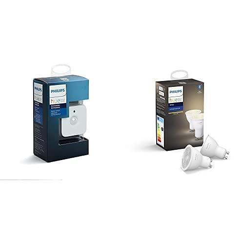 Philips Hue Hue Sensor de Movimiento, Enciende las Luces con Detección de Presencia + Pack de 2 Bombillas Inteligentes LED GU10, con Bluetooth, Luz Blanca Cálida