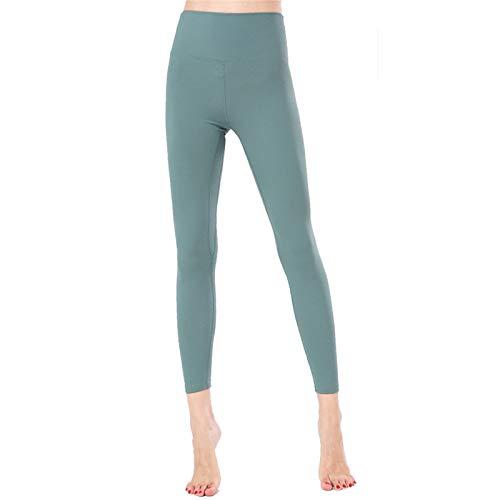 Leggins Mujer Fitness Mallas Deportivo Pilates, Sensación de cintura alta desnudo de las mujeres polainas atractivas Scrunch la elevación del extremo de la panza flacos de control de yoga pantalones G