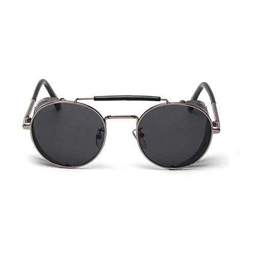 1PC Redondo Retro Steampunk Gafas de Sol con Marco de Metal Ligero Protector Lateral Gafas de Sol del Deporte de protección UV para el Hombre y la Mujer (Negro)