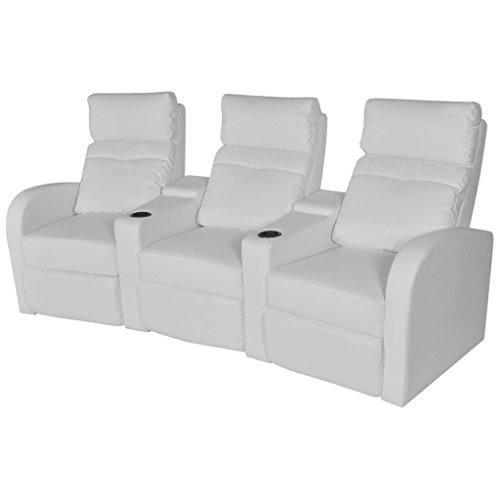 vidaXL Sillón Blanco reclinable tapizado Cuero Artificial 3 plazas Cinema casa
