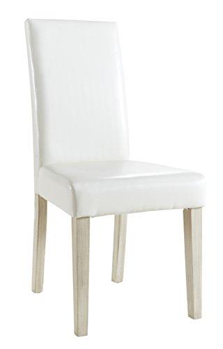 Demeyere Guevara Set 2 Stühle, Kiefer/ BS-Holz/ Schaumstoff, Weiß,, 45 x 55.5 x 94 cm