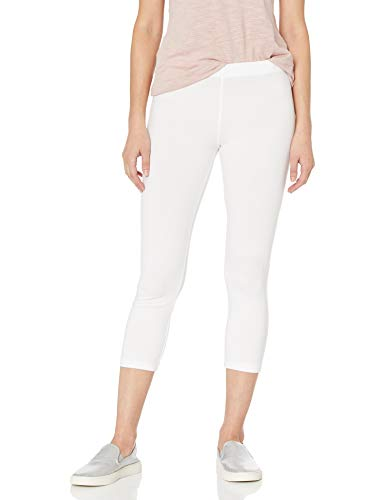 No nonsense Women's Cotton Capri Leggings, White, Large