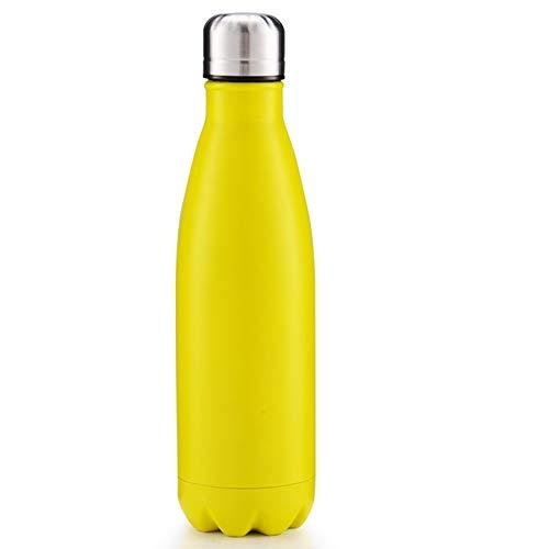 ruisibnn Thermos thermoskan van roestvrij staal 0,5 l vacuüm-isolatie fles van maan sport buitenwater geel