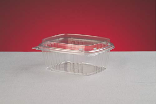 Genpaks AD12F | 12oz Clear PET Hinged Deli High Dome Lid Container | Recyclable, Made with up to 30% Post-Consumer Content, BPA Free, Made in The USA | 5.50 x 4.88 x 2.25 Case Count 200