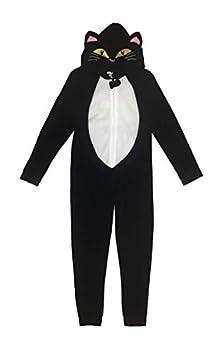 Under Disguise Kids & Big Kids Microfleece Costume Union Suit/Onesie Black Cat 14-16 Yr