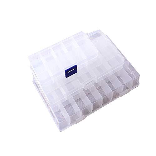 DXIA 3pcs Caja Ajustable Organizador, Caja Transparente Compartimentos, Contenedor para Guardar Cuentas de Plástico Transparente y Ajustable, 10/15/24 Rejilla seperadora pequeña