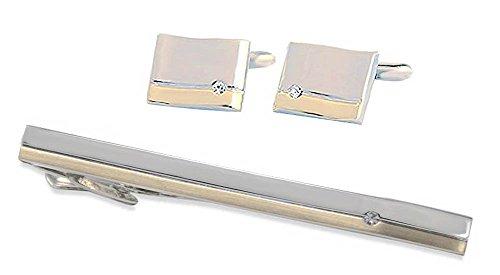 Unbekannt Set Manschettenknopf + Krawattenklammer kurz 6 cm Elegance Bicolor mit Kristallstein + Setbox