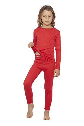 Rocky Thermal Underwear for Girls Fleece Lined Thermals Kids Base Layer Long John Set Red