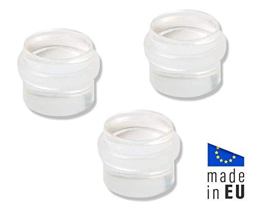 DOMTECH vloerdeurstopper zelfklevend, set van 3 transparante deurstoppers, transparante deurstopper vloer om te lijmen, Made in EU