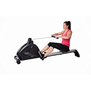 """Avari A350-700 Stamina Programmable Magnetic Exercise Rower, 81"""" L x 20"""" W x 24.5"""" H, Black/Silver"""