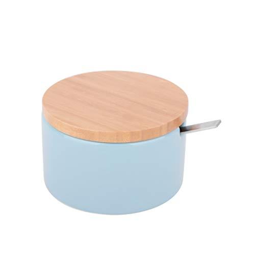 KOOK TIME Azucarero Original Redondo de cerámica - con Tapa de Madera de Bambú y Cucharilla de Acero Inoxidable - Uso Ideal como azucarero y salero - Medidas: 12.5, 10, 6.5 cm. - Color: Azúl