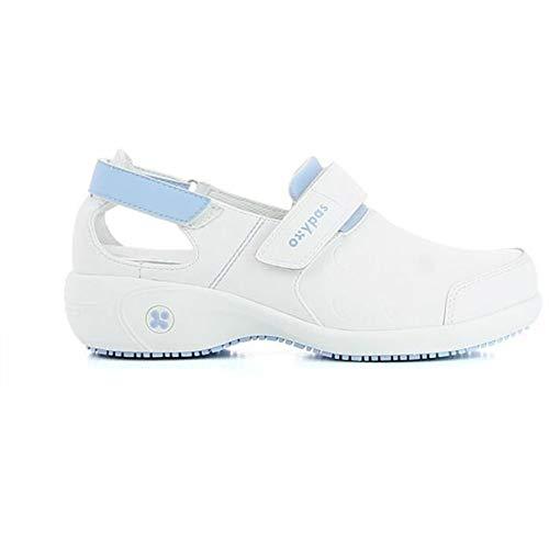 Oxypas Move Up Salma Slip-resistant, Antistatic Nursing Shoes, White/Blue (Light Blue), 5 UK (38 EU)