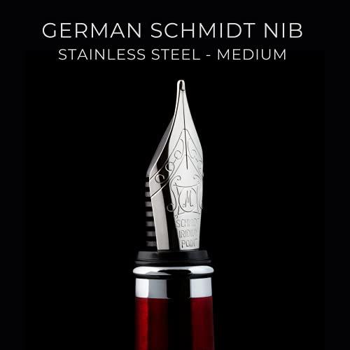 Penna stilografica Scriveiner Deep Crimson Red - Splendida penna stilo con finitura cromata, pennino dorato 18 carati Schmidt (medio), laccata rossa