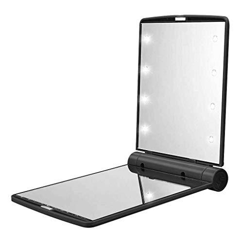 Mingtongli Miroir de Maquillage Pliant Femme extérieure Miroir Pliable en Plastique cosmétique Portable avec 8 LED, Noir