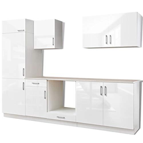vidaXL 7-częściowy aneks kuchenny kuchnia do zabudowy do lodówki do zabudowy wysoki połysk biały 270 cm