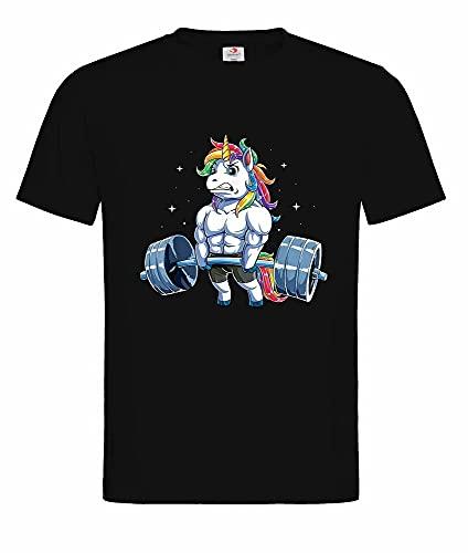 Unisex T-Shirt-Unicorn Weightlifting Fitness Gym Deadlift Rainbow Black S