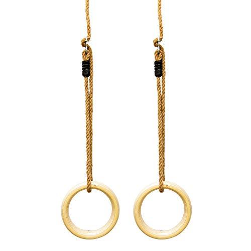 Woudi Anelli da ginnastica in legno, anelli per altalena, anelli per fitness, con corde regolabili in lunghezza, per bambini, adulti