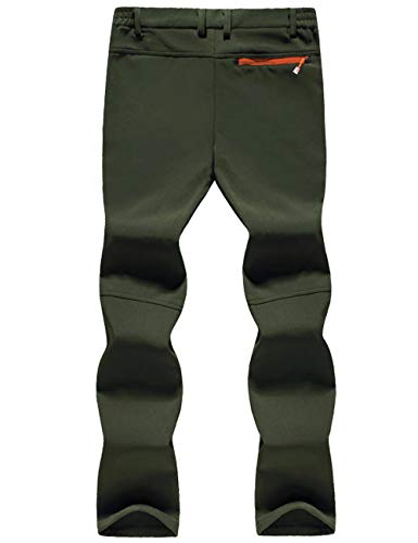 TACVASEN Skiing Trousers Men Winter Warm Fleece Outdoor Trousers Leisure Trekking Trousers Mens Casual Thermal Snow Trousers Cold Weather, Thick - Army Green, 30