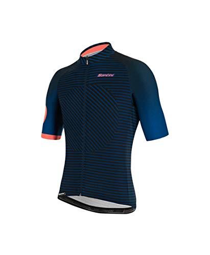 Santini Abbigliamento Ciclismo Uomo Maglia Estiva Karma Mille (L, Blu)