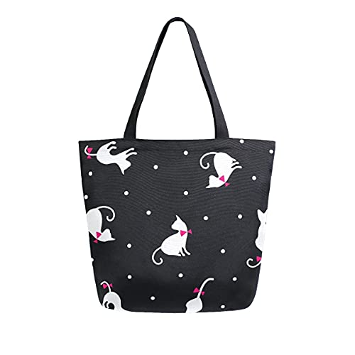 XXNO - Bolsa de lona con diseño de lunares, diseño de gatos