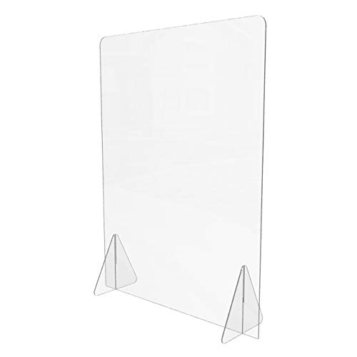 Clear Protective Acrylic Sneeze Guard (24'W x 32'H), Easy to Assemble Freestanding Panel Shield, Portable Plexiglass Barrier Protects Against Transmission of Germs, Virus & Diseases