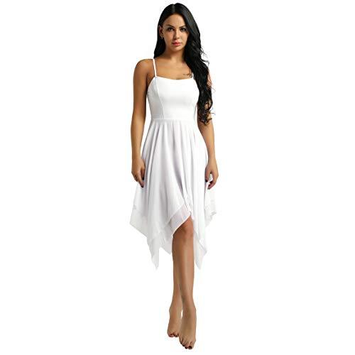 Agoky Irregular Vestido de Baile Latino para Mujer Vestido Maillot Tirantes de...