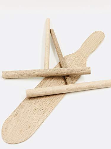 Crêpes-Set (2Verteiler & 1Pfannenwender) aus Holz, hergestellt im Jura