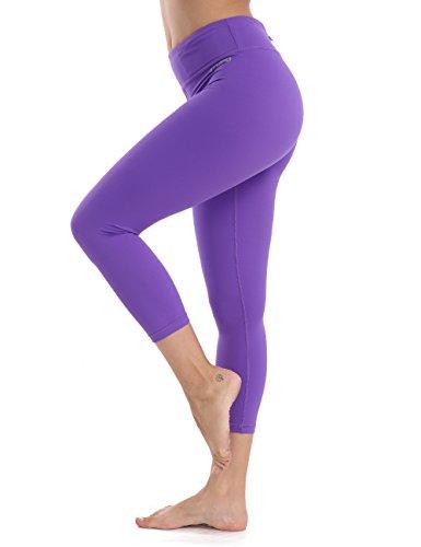 XTUPO High Waist Leggings Capri Soft Slim Yoga Pants Tummy Control Workout Leggings 4 Way Stretch Fabric Purple L