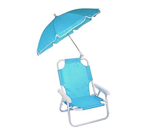 mws 2576 Sedia Pieghevole per Bambini di Colore Celeste con ombrellino Protezione Raggi UV