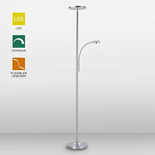 LeuchtenDirekt, LED Stehleuchte mit Leselampe, dimmbar über Tastdimmer, Standlampe, warmweiß, 3000 Kelvin, Stahl